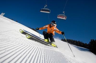 Groomed advanced ski slope