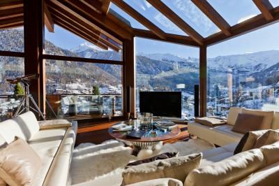Ski chalet lounge view