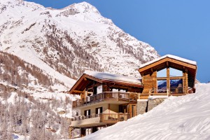 Ski chalet on ski slope