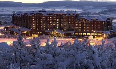 Ski hotel in the snow