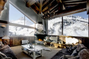 Luxury chalet lounge area