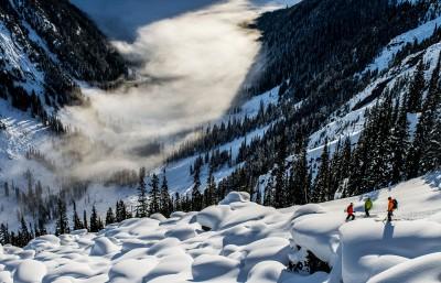 Powder snow covered slopes