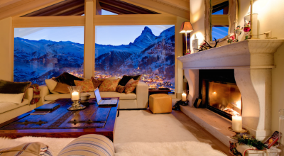 Ski chalet with fireplace